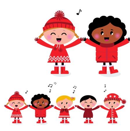 cantando: Lindos niños pequeños cogidos de la mano y cantando aislado en blanco. Vectores