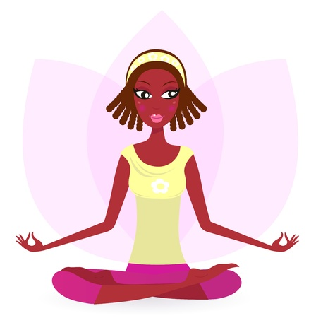 Cute Afro woman practicing lotus flower yoga.   Vector