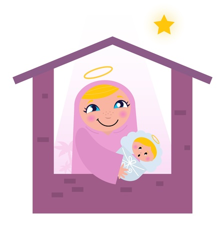 Nativity Bethlehem scene: Virgin Mary and Baby Jesus.   Vector