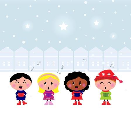 carols: Winter Kids singing Silent Night.cartoon Illustration