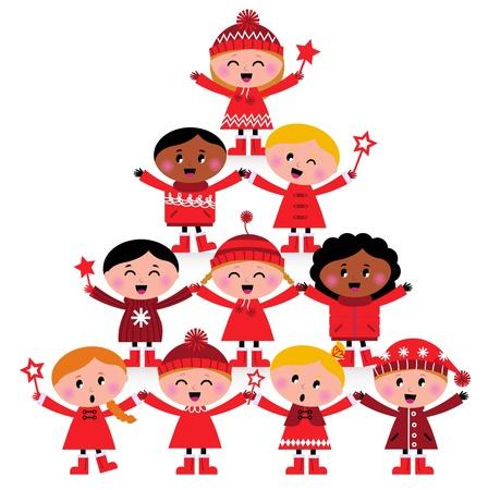 boldog karácsonyt: Boldog multikulturális gyerekek vörös téli jelmezekben. Nagy tervezés karácsonyi party. Vector rajzfilm illusztráció.