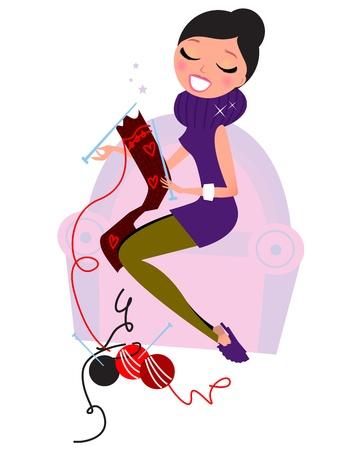 여자가 소파 뜨개질 기존의 울 니트에 앉아. 레트로 그림.