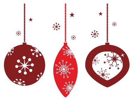 Elegant christmas balls decoration in retro style.  Vector