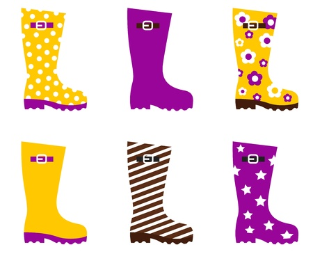Cute wellies isolated on white. Vector Vector
