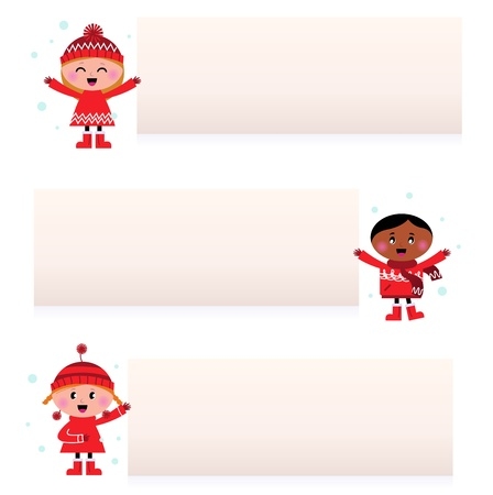 multi racial: Christmas multicultural kids banner collection.