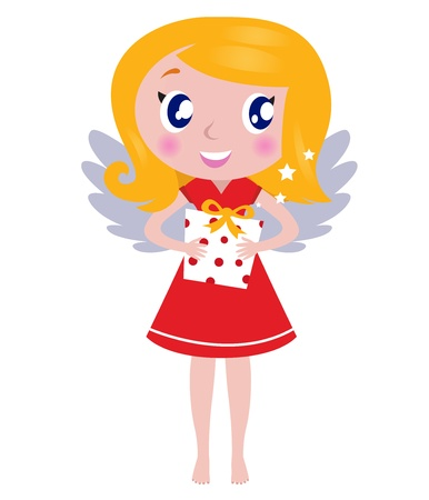 Cute little blond angel child with present. Vector cartoon illustration. Vector