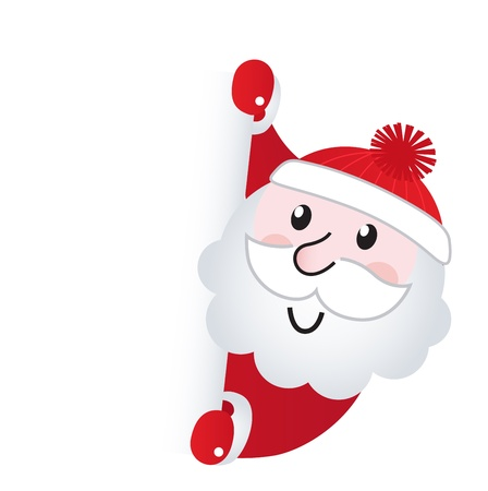 Cute retro Santa holding blank sign - vector Illustration.