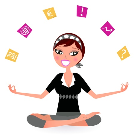 office chaos: Busy woman with notes trying to relax in yoga position.  Vector retro Illustration