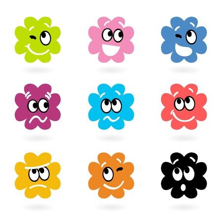 bacterial: Vector serie di piccoli mostri con le emozioni facciali. Vettoriali