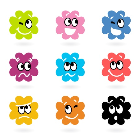 bacteria cartoon: Vector set of little monsters with facial emotions.