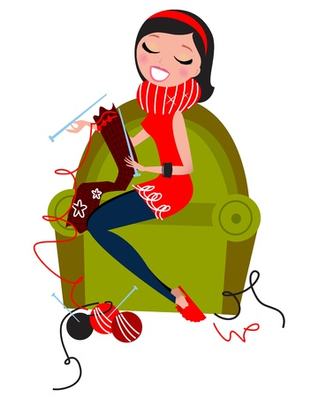 Woman sitting in sofa knitting traditional wool knitwear. Retro vector Illustration.  Illustration