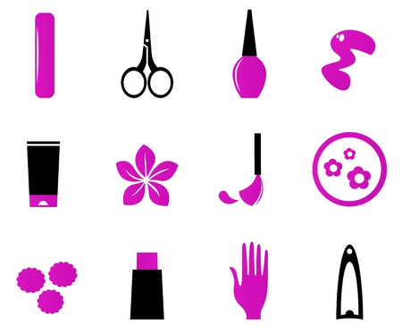 manicure salon: Cosmetic and manicure icon set. Vector Illustration. Illustration