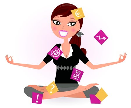 tasks: Busy woman with notes trying to relax in yoga position.  Vector retro Illustration