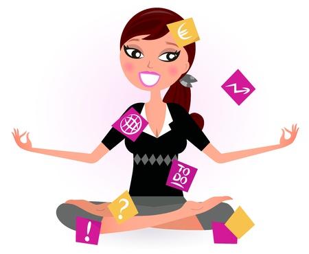 segretario: Donna impegnata con le note che cercano di rilassarsi in posizione yoga. Illustrazione Vettoriale retro