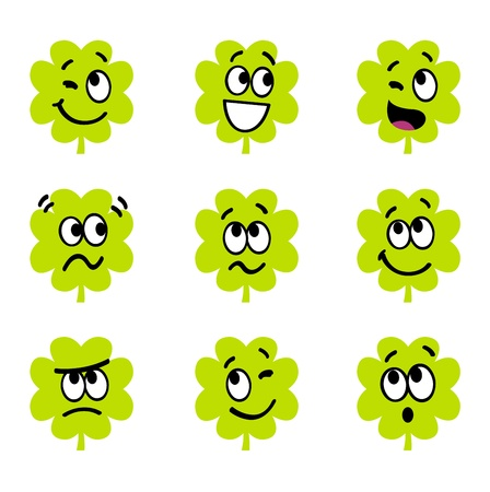Vector collection of funny four leaf clovers.  Vector