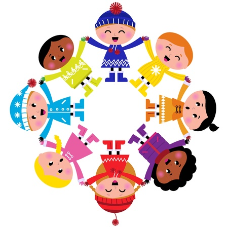 Colorful winter children in group. Vector illustration in retro style.  Vector