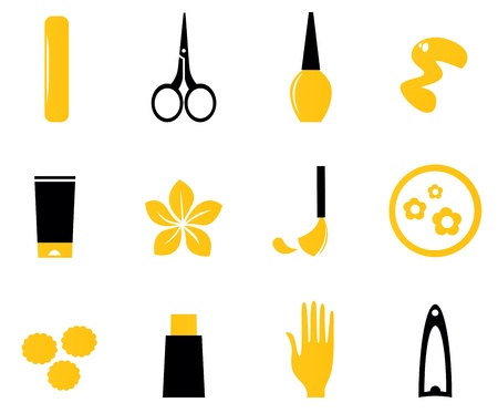 Cosmetic and manicure icon set. Vector Illustration. Vector