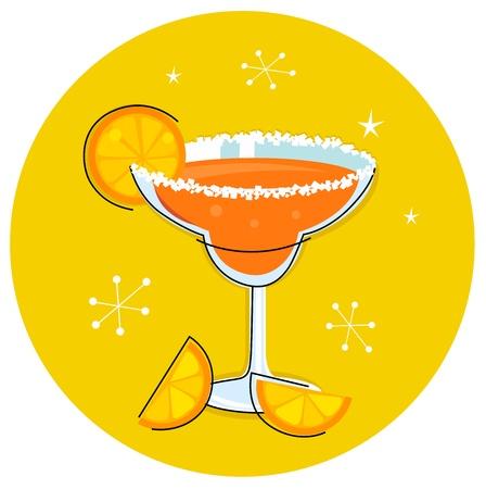 margarita: Orange retro drink with fruit. Vector cartoon Illustration.