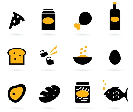 12 food items. Elegant group of various food vector objects. Vector