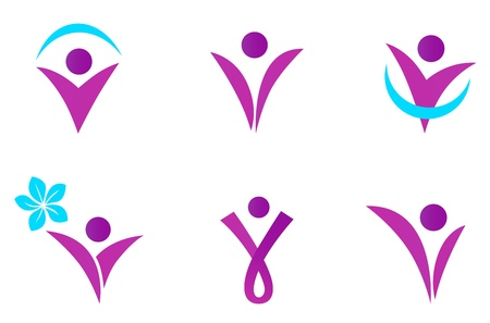 slim women: Collection of six women body shapes. Vector