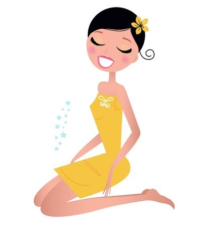 Mignon Spa femme, illustration vectorielle dans le style rétro.