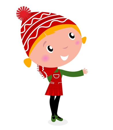 Cute christmas cartoon Girl in red costume isolated on white Vector