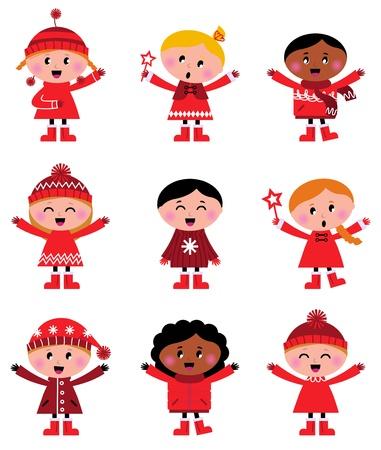 enero: Peque�a historieta navidad ni�os set - ilustraci�n vectorial Vectores