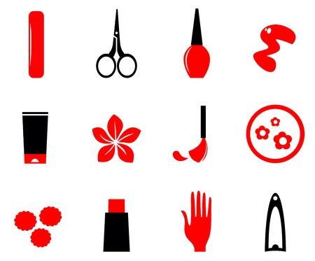 Cosmetico e manicure set di icone. Illustrazione Vettoriale.