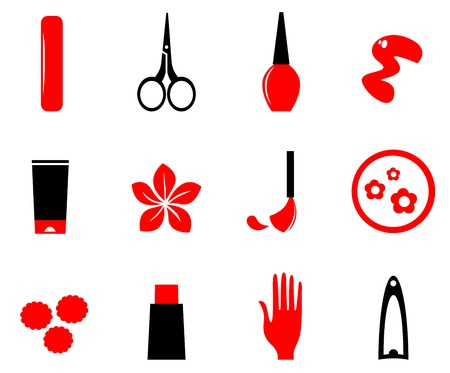 manicure: Cosmetic and manicure icon set. Vector Illustration. Illustration