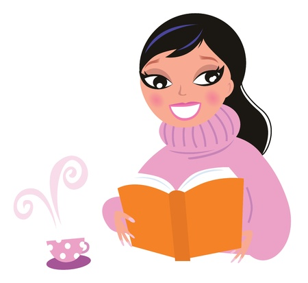 caffe: Happy woman in winter warm pullower reading book. Vector Illustration in retro style. Illustration