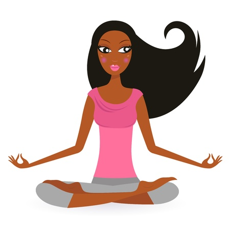 afro: Cute afro woman practicing yoga exercise. Vector Illustration.