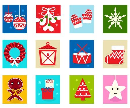 Advent Calendar. Christmas Time. Various cartoon christmas icons and elements. Vector Illustration