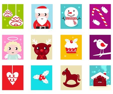 christmas religious: Advent Calendar. Christmas Time. Various cartoon christmas icons and elements.