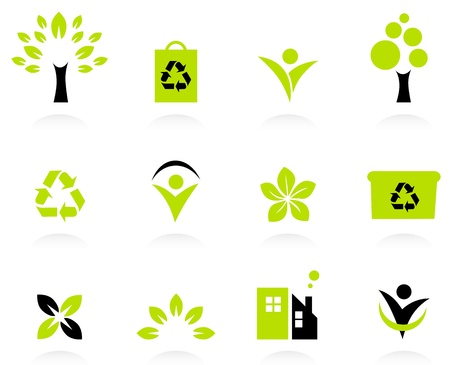 Bio, natural and ecological icons set. Vector Vector