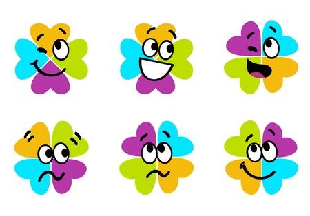 las emociones: Vector colecci�n de colorido tr�bol de cuatro hojas