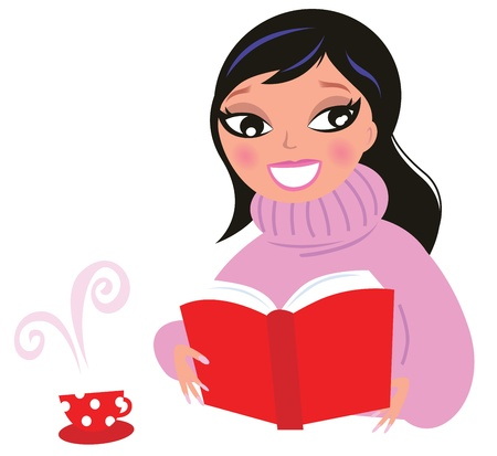 girl reading book: Woman reading or studying book. Vector Illustration.