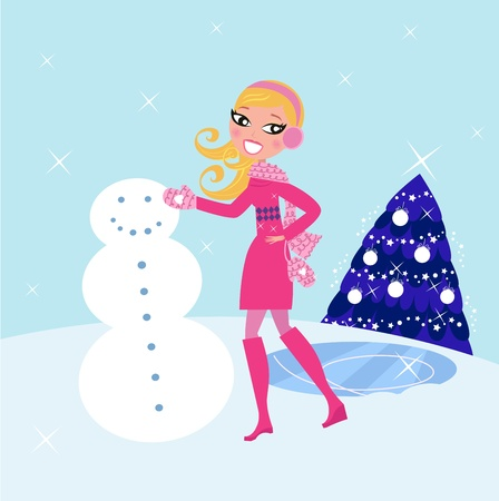 Cute blond woman building snowman. Vector illustration. Vector