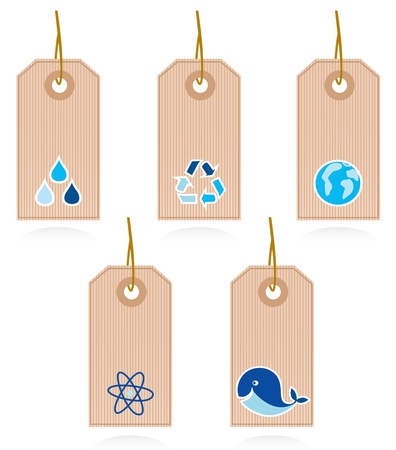 eco notice: Vector set of blank recycle & water labels. Illustration