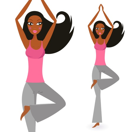 yoga asana tree pose: Cute afro woman practicing yoga exercise. Vector Illustration.
