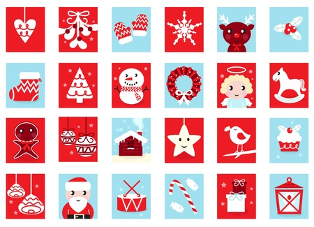 advent: Christmas icons and design elements - red and blue. Vector cartoon Illustration.