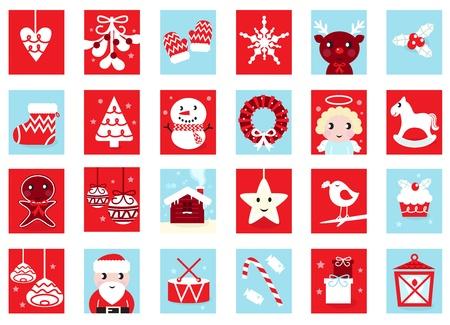 renos de navidad: Navidad iconos y elementos de diseño - rojo y azul. Ilustración vectorial de dibujos animados.