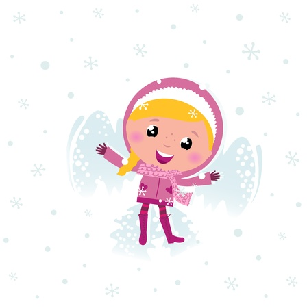 Cute winter eskimo child making angel in snow. Vector cartoon Illustration Vector