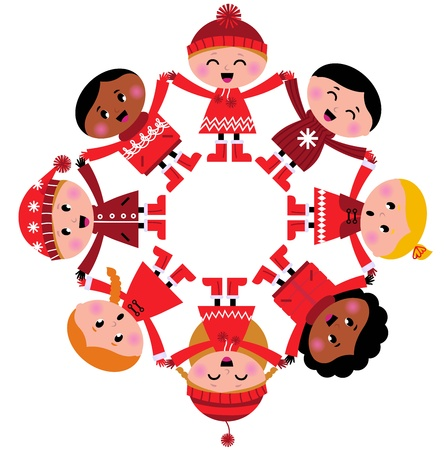 christmas carols: Cute winter kids in circle. Vector cartoon Illustration.