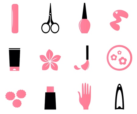 nails manicure: Cosmetic and manicure icon set. Vector Illustration. Illustration