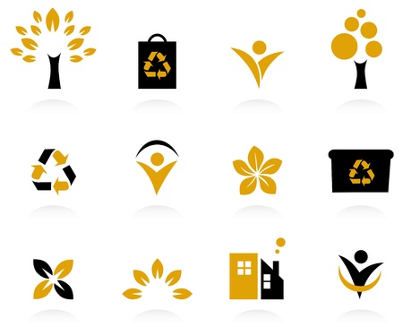 Bio, natural and ecological icons set. Vector Stock Vector - 11383442