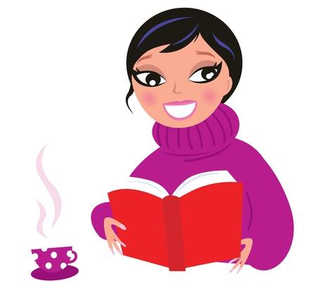 mujer leyendo libro: Mujer leyendo o estudiando libros. Ilustración vectorial.