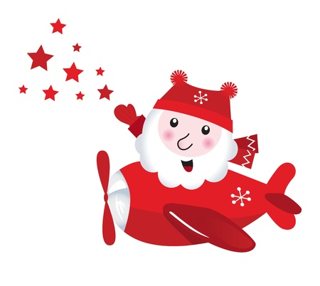 christmassy: Santa Claus in airplane touching stars. Vector retro Illustration