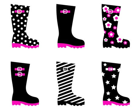 Vector collection of fashion wellies isolated on white. Vector
