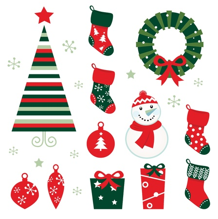 calcetines: Elementos retro para la noche de Navidad. Ilustración vectorial de dibujos animados