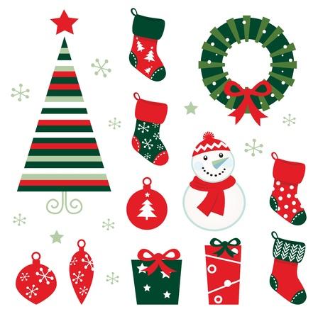 Retro-elementen voor kerst avond. Vector cartoon illustratie